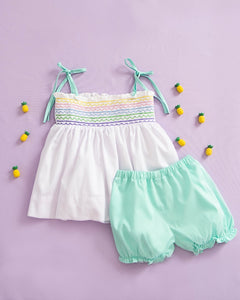 Rainbow Smocked Bloomer Set with Lace