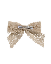 Load image into Gallery viewer, Vintage Lace Hair Bow in Ivory