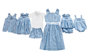 Cornflower Blue Check Bloomer Set with Sash