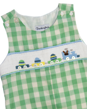 Load image into Gallery viewer, Bunny Train Smocked Green Check Shortall