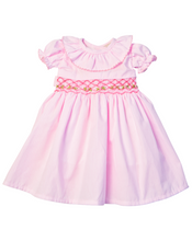 Load image into Gallery viewer, Pink Gingham Smocked Jenny Dress for Doll