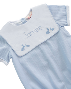 Playful Bunnies Embroidered Blue Linen Bubble