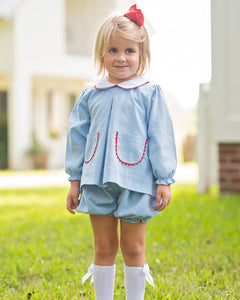 Blue Corduroy Pleated Bloomer Set With Red Trim