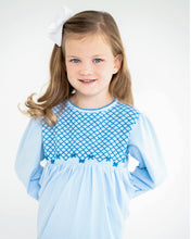 Load image into Gallery viewer, Blue Smocked Knit Dress