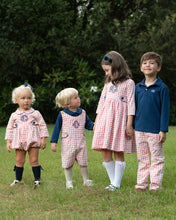 Load image into Gallery viewer, Coral Check Shortall With Navy Knit Shirt