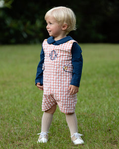 Coral Check Shortall With Navy Knit Shirt