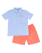 Load image into Gallery viewer, Coral and Baby Blue Shorts Set