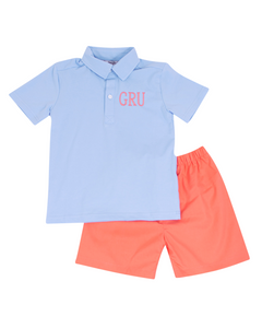 Coral and Baby Blue Shorts Set