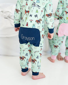 Hold Your Horses Zip Up Pajamas with Navy Trim