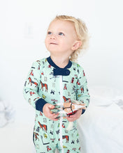 Load image into Gallery viewer, Hold Your Horses Zip Up Pajamas with Navy Trim