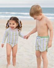 Load image into Gallery viewer, Lemon Zest Swim Trunks with Green Gingham Trim