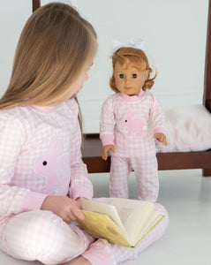 Bunny Applique Pink Gingham Pajamas for Doll
