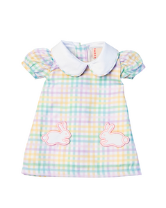 Rainbow Plaid Doll Dress with Bunny Pockets