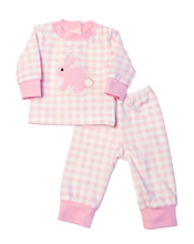 Load image into Gallery viewer, Bunny Applique Pink Gingham Pajamas for Doll