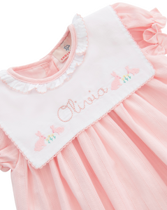 Playful Bunnies Embroidered Pink Linen Dress