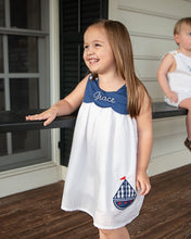 Load image into Gallery viewer, Sailboat Applique White Seersucker Dress