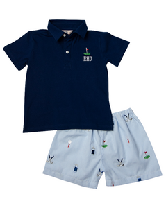 Hole in One Embroidered Gingham Shorts Set