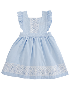 Blue Gingham Pinafore Dress with Lace