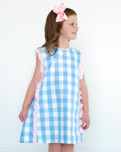 Baby Blue Buffalo Check Dress with Pink Bows