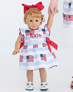 American Flag Blue Striped Dress for Doll