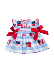 Load image into Gallery viewer, American Flag Blue Striped Dress for Doll