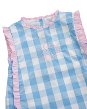 Load image into Gallery viewer, Baby Blue Buffalo Check Dress with Pink Bows