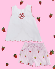 Load image into Gallery viewer, Strawberry Embroidered Seersucker Shorts Set