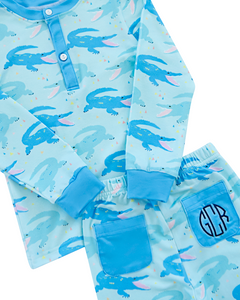 Chomping Crocodile Pajama Set with Blue Trim