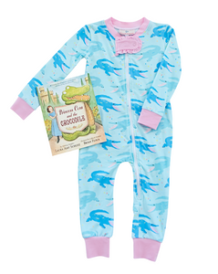 Chomping Crocodile Zip Up Pajamas with Pink Trim