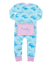 Load image into Gallery viewer, Chomping Crocodile Zip Up Pajamas with Pink Trim