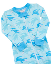 Load image into Gallery viewer, Chomping Crocodile Zip Up Pajamas with Blue Trim