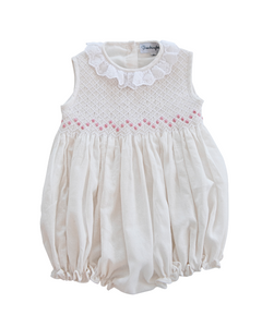 White Linen Bubble with Pink Rosette Smocking