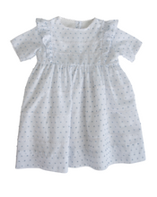 Load image into Gallery viewer, White and Blue Swiss Dot Jumper with Vintage Lace