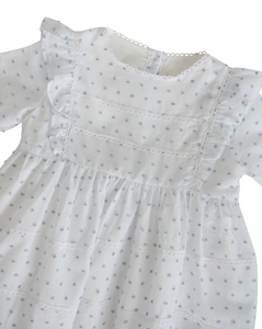 White and Blue Swiss Dot Jumper with Vintage Lace