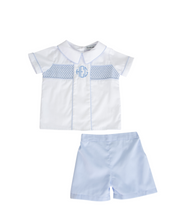 Load image into Gallery viewer, Charlie Shorts Set with Blue Smocking