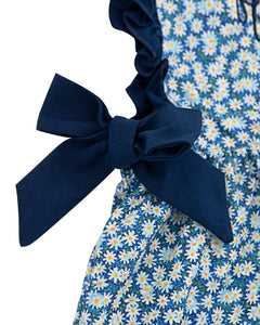 Daisy Floral Dress with Navy Bows