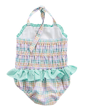 Load image into Gallery viewer, Rainbow Plaid Personalized Swimsuit
