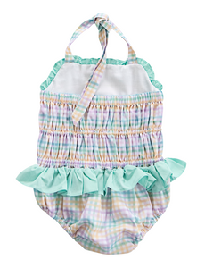 Rainbow Plaid Personalized Swimsuit