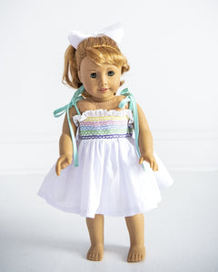 Rainbow Smocked Dress with Lace for Doll