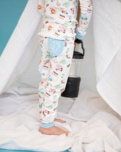 Load image into Gallery viewer, Camping Trip Pima Pajama Set with Blue Trim