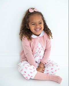 India Amory x Smockingbird Romper in Hibiscus Pink