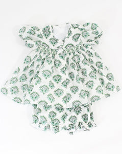 India Amory x Smockingbird Bloomer Set in Emerald Green