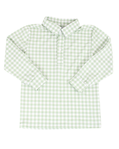 Green Checked Knit Long Sleeved Polo Shirt