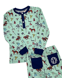 Hold Your Horses Pajama Set with Navy Trim