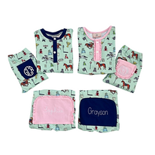 Load image into Gallery viewer, Hold Your Horses Pajama Set with Navy Trim
