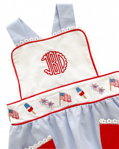 Patriotic Embroidered Bubble with Red Pockets