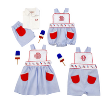 Load image into Gallery viewer, Patriotic Embroidered Jumper with Red Pockets