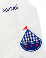 Load image into Gallery viewer, Sailboat Applique White Seersucker Shortall