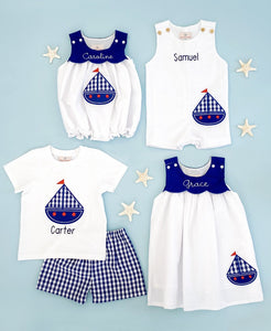 Sailboat Applique White Seersucker Shortall