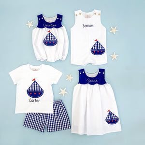 Sailboat Applique White Seersucker Dress